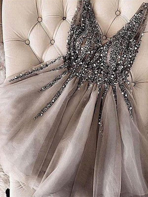 Sparkly Tulle V-neck Neckline Short A-line Homecoming Dresses HD286