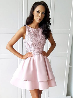 Fabulous Satin Jewel Neckline A-line Homecoming Dresses With Appliqued HD301
