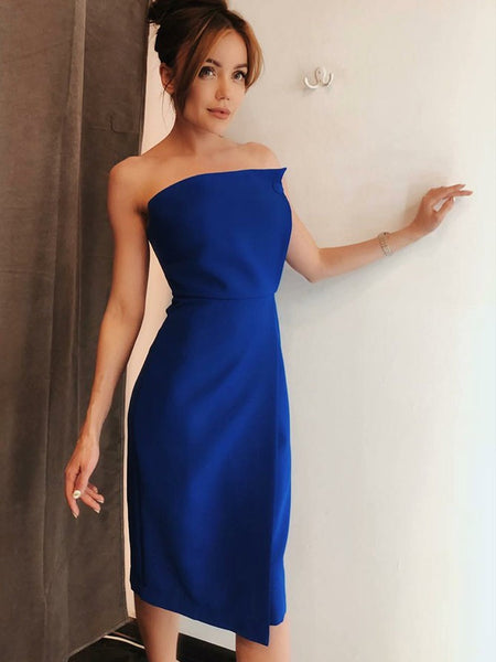 Simple Satin Strapless Neckline Tea-length Sheath Wedding Guest Dresses WG015