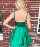 Simple Satin Jewel Neckline Short A-line Homecoming Dresses HD323