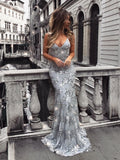 Mermaid Spaghetti Strap Floor-Length Tulle Sequined Prom Dresses HX00127