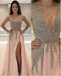 A-line Deep-V Floor-Length Chiffon Prom Dresses With Rhine Stones HX00162