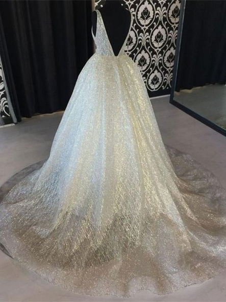 A Line V Neck Floor Length Tulle Wedding Dresses With Sequins