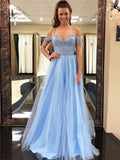 A-line Spaghetti Strap Floor-Length Tulle Prom Dresses With Rhine Stones HX0067