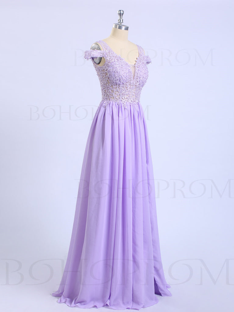 Delicate Chiffon V-neck Neckline Sweep Train A-line Prom Dresses With Appliques PD023