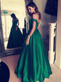 Modern Satin Off-the-shoulder Neckline Chapel Train A-line Prom Dresses With Beadings PD033
