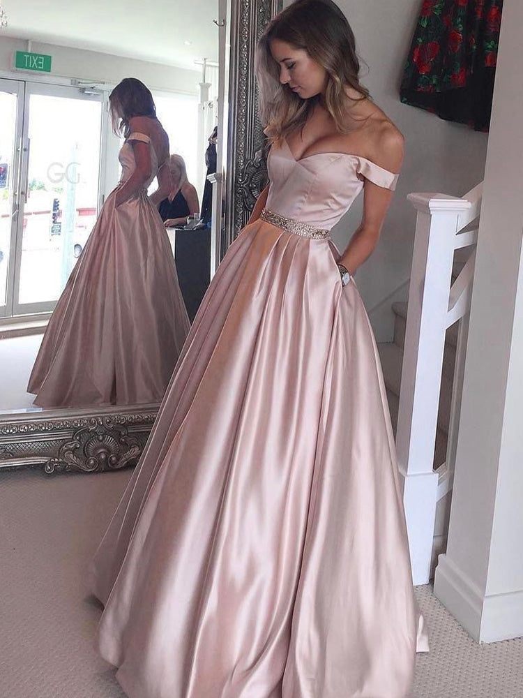 Modern Satin Off-the-shoulder Chapel Train A-line Prom Dresses With Beadings PD033