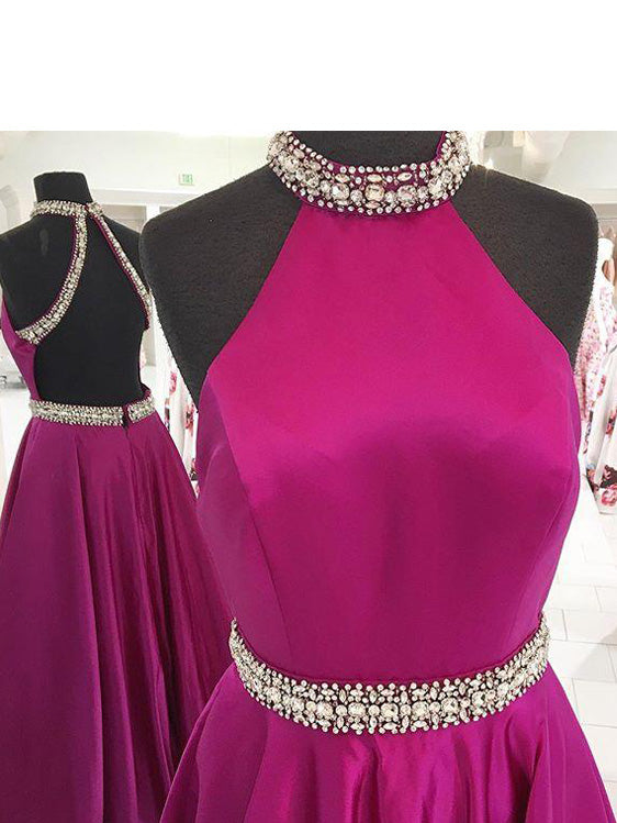 Popular Satin Jewel Neckline Backless Sweep Train A-line Prom Dresses With Rhinestones PD048