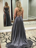 Charming Satin Spaghetti Straps Neckline Sweep Train A-line Prom Dresses With Slit PD051