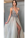 Gorgeous Tulle V-neck Neckline Floor-length A-line Prom Dresses With Rhinestones PD061