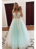 Popular Tulle V-neck Neckline Ball Gown Prom Dresses With 3D Flowers & Pearls PD118