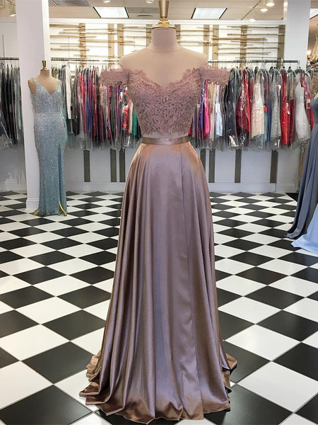 Modest Lace & Satin Off -the-shoulder Two-piece A-line Prom Dress PD136