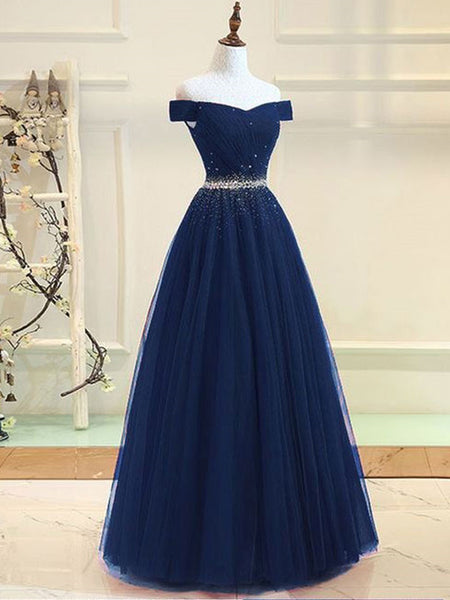 Fabulous Tulle Off-the-shoulder Neckline Ball Gown Prom Dresses With Rhinestones PD155