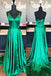 Simple Satin Spaghetti Straps Neckline A-line Prom Dress PD170