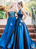 Fashionable Satin Halter Neckline Ball Gown Prom Dresses With Beadings PD198