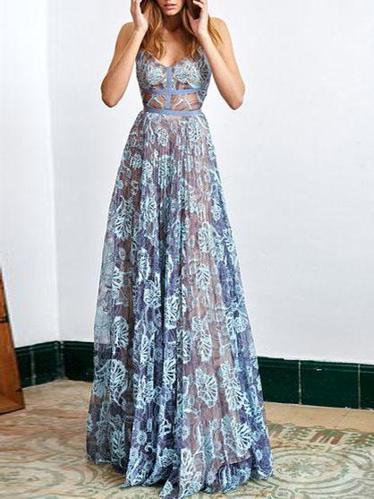 Delicate Lace Spaghetti Straps Neckline Floor-length A-line Prom Dresses PD211