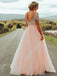 Sparkly Chiffon Bateau neckline Short Sleeves A-line Prom Dresses With Rhinestones PD213