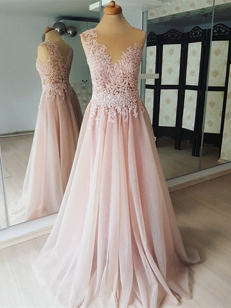Brilliant Chiffon Jewel Neckline A-line Prom Dresses With Beaded Appliques PD221