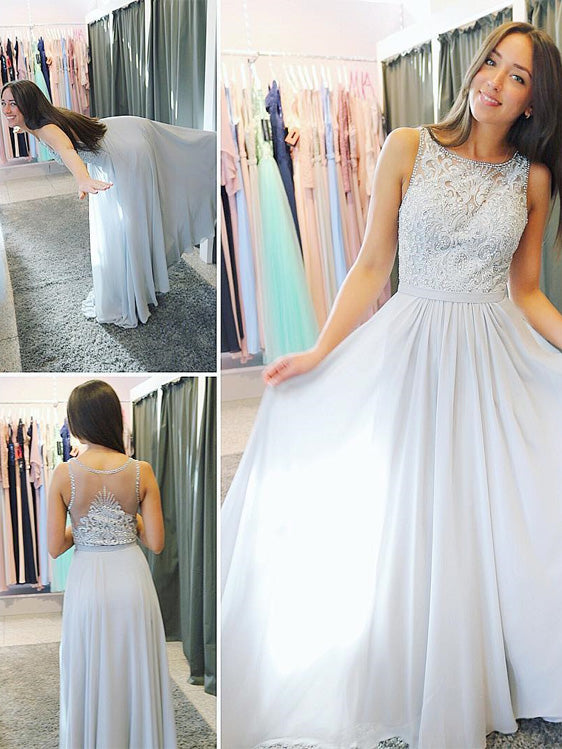 Glamorous Chiffon Scoop Neckline A-line Prom Dresses With Beaded Appliques PD230