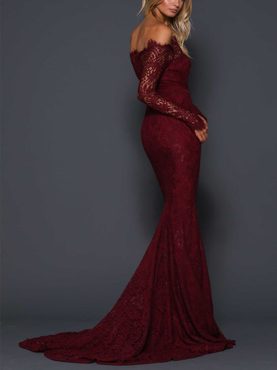 Exquisite Lace Off-the-shoulder Neckline Long Sleeves Mermaid Prom Dresses PD231