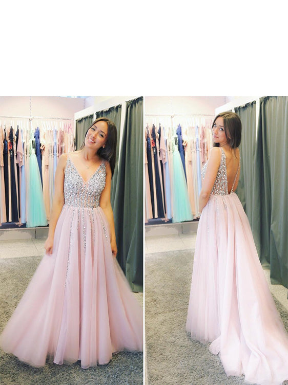 Shining Tulle V-neck Neckline A-line Prom Dresses With Rhinestones PD233