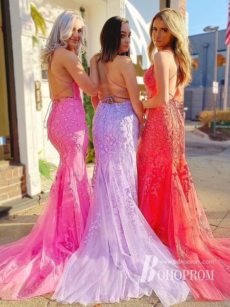 Exquisite Sheath Prom Dresses Spaghetti Straps Tulle Prom Gowns PD239