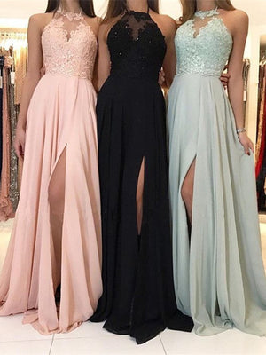 Marvelous Chiffon Halter Neckline A-line Prom Dresses With Slit PD261