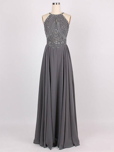 Sparkly Chiffon Jewel Neckline A-line Prom Dresses With Beadings PD240