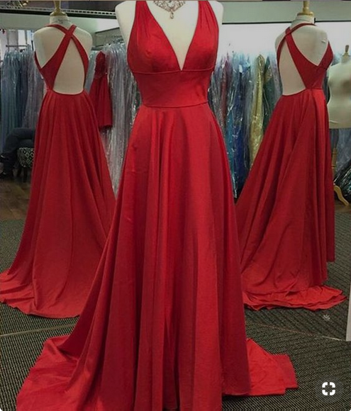 Simple satin V-neck Neckline Chapel Train A -line Prom Dresses PD241