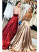 Simple Satin Prom Dresses A-line Sexy Evening Gowns With Chapel Train PD253