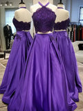 A-line Halter Prom Dresses Satin Beaded 2 Pieces Evening Dresses PD254