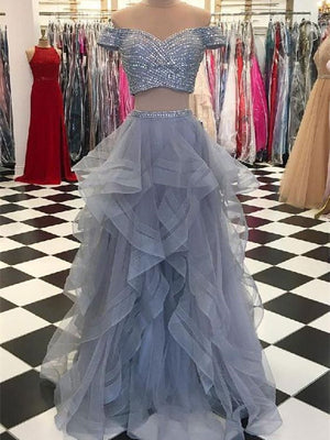 Shimmering Two-piece Prom gowns A-line Tulle Evening Dresses PD255