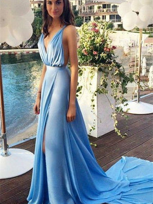 Sexy Chiffon Evening Dresses V-back A-line Prom Dresses With Slit PD256