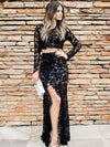Sexy 2 Pieces Evening Dresses Sheath Lace Black Prom Dresses PD258