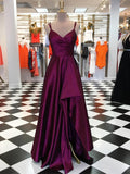 Modern Satin Spaghetti Straps A-line Evening Dresses PD261