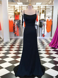 Marvelous Satin Spaghetti Straps Long Sheath Prom Dresses PD267