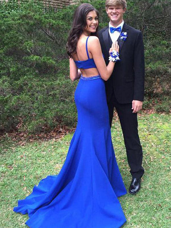 Mermaid Scoop-Neck Sweep Train Satin Royal Blue Sexy Prom Dresses HX0095