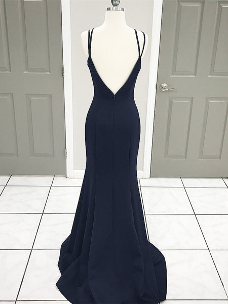 Sexy Satin Spaghetti Straps sheath Evening Dresses With Sweep Train PD273