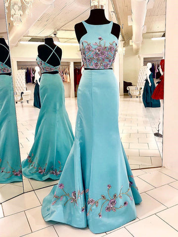 Exquisite Satin Scoop Neckline 2 Pieces Embroidery Mermaid Evening Gowns PD277