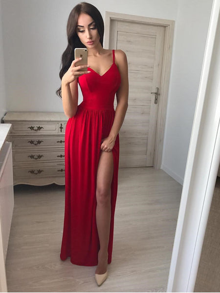 Fabulous Satin Spaghetti Straps A-line Prom Dresses With Slit PD279