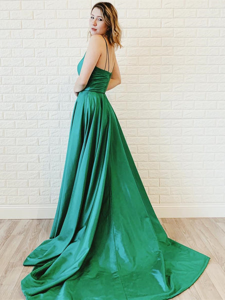 Simple Satin Spaghetti Straps A-line Prom Gowns With Slit PD292