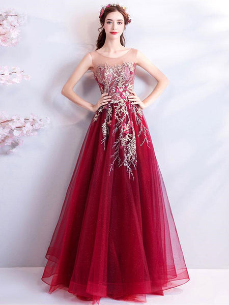 Fashionable Tulle & Organza Scoop Appliques A-line Prom Gowns PD294