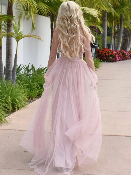 Sweet Tulle Spaghetti Straps A-line Prom Dresses With Slit PD300