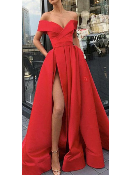 Sexy Satin Off-the-shoulder Sweep Train A-line Evening Dresses With Slit PD304