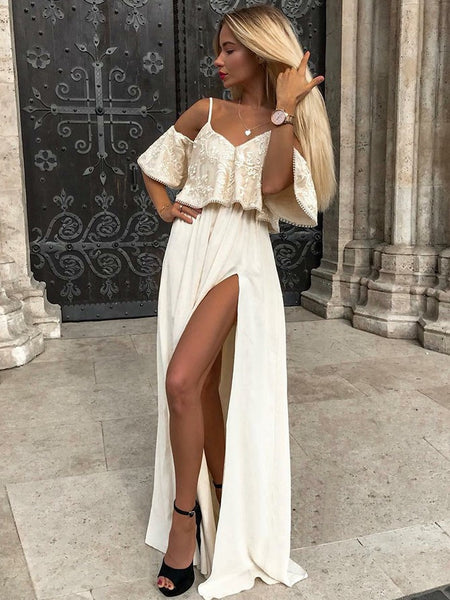 Glamorous Lace & Chiffon Short Sleeves A-line Prom Dresses With Slit PD305