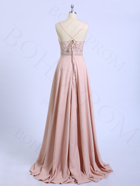 Modest Chiffon Spaghetti Straps Beaded A-line Prom Dresses PD306