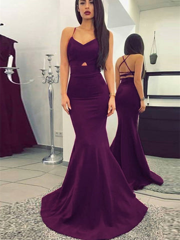 Sexy Stretch Satin Spaghetti Straps Mermaid Prom Dresses PD307