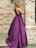 Marvelous Satin Jewel A-line Prom Dresses With Rhinestones PD318
