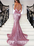Sparkly Spaghetti Straps Mermaid Prom Dress Sequined Dresses PD319