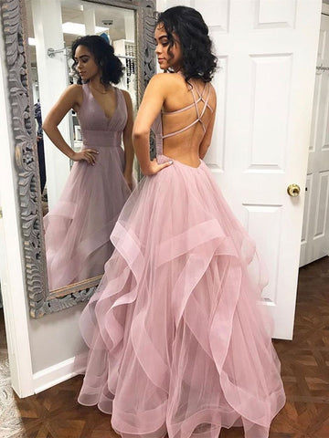 Simple V-neck Tulle Prom Dresses Open Back A-line Gowns PD320
